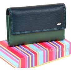 Компактный кожаный кошелёк в три сложения синего цвета