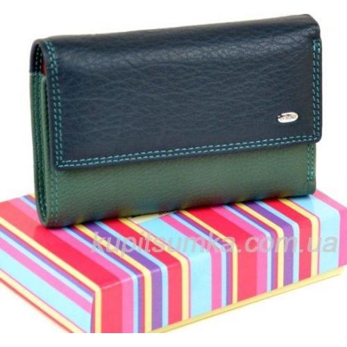 Кожаный женский кошелек синий 13МП-65