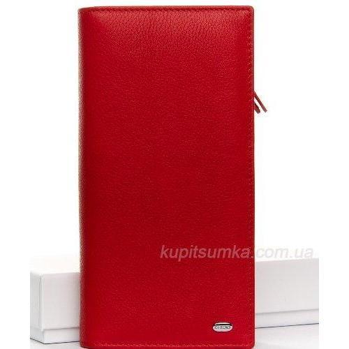 Мягкий красный кошелёк из натуральной кожи с монетницей на молнии