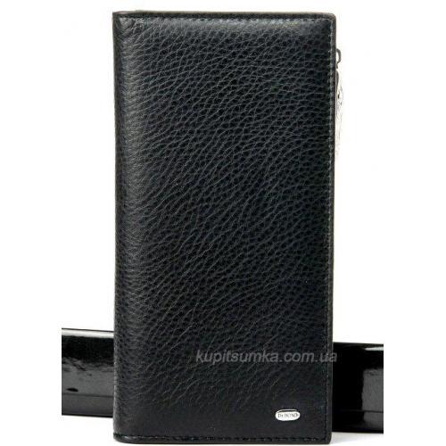 Мягкий черный кошелёк из натуральной кожи с монетницей на молнии