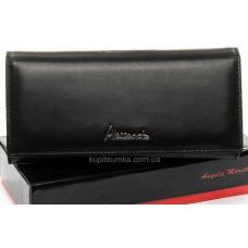 Облегчённый кошелёк из натуральной черной кожи на магните