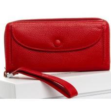 Практичный женский кошелек красного цвета из натуральной кожи