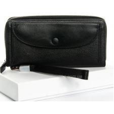 Практичный женский кошелек черного цвета из натуральной кожи