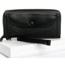 Женский кошелек черного цвета из натуральной кожи