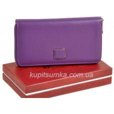 Просторный женский кошелёк из натуральной кожи сиреневого цвета