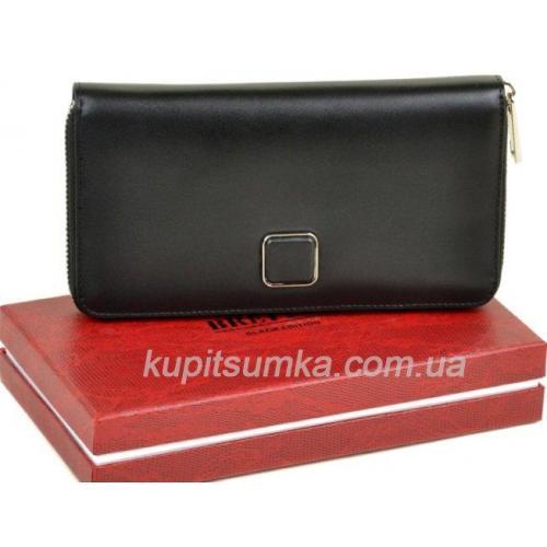 Просторный женский кошелёк из натуральной кожи чёрного цвета