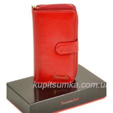 Роскошный женский кошелёк из мягкой натуральной кожи Красный