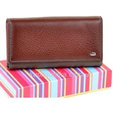 Солидный кожаный кошелёк с двойной монетницей цвет коричневый