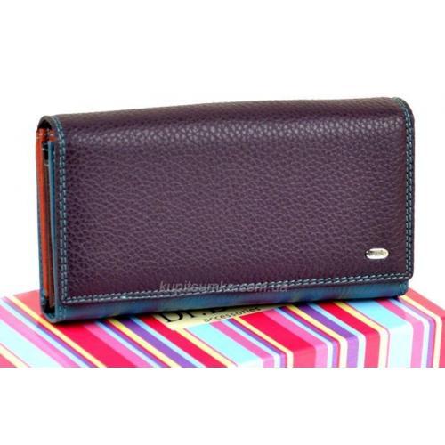 Солидный кожаный кошелёк с двойной монетницей цвет фиолетовый