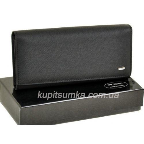 Черный классический кошелёк из натуральной кожи с монетницей внутри