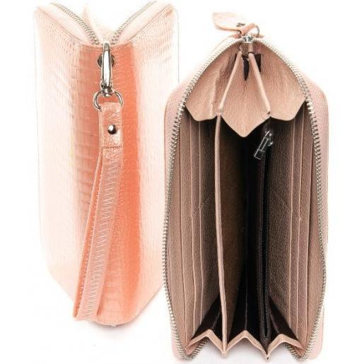 Женский розовый кошелек из натуральной тисненой кожи