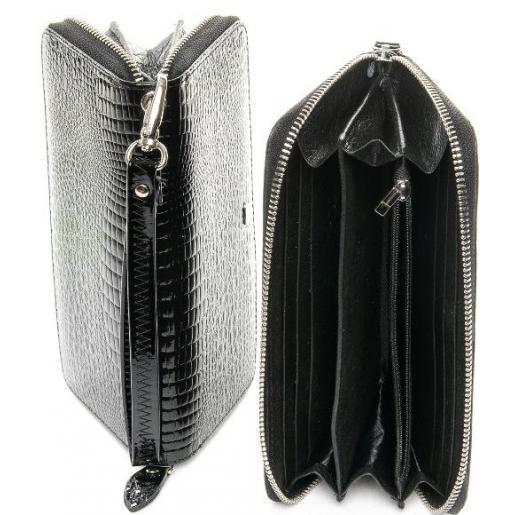 Кожаный женский кошелек в классическом черном цвете