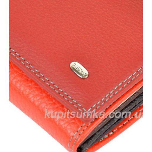 Женский кошелёк из натуральной мягкой кожи с монетницей внутри цвет красный