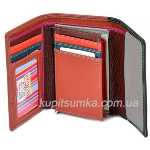 Компактный кожаный кошелёк в три сложения чёрного цвета
