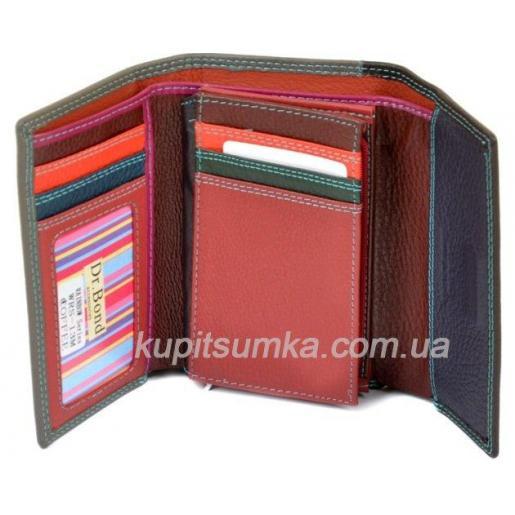 Компактный кожаный кошелёк в три сложения цвета кофе