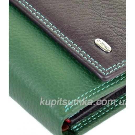 Компактный кожаный кошелёк в три сложения феолетового цвета