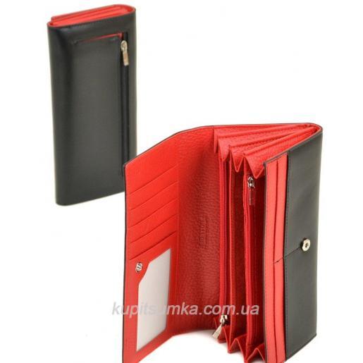 Вместительный женский кошелёк из натуральной кожи чёрного цвета