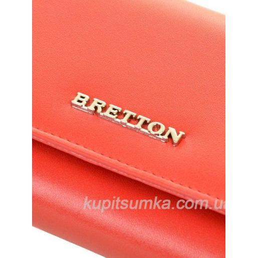 Кожаный женский кошелёк с наружной монетницей красного цвета