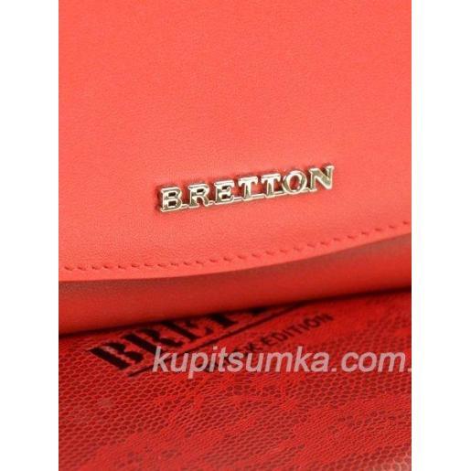 Кожаный женский кошелёк с внутренней монетницей красного цвета