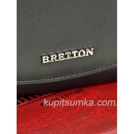 Кожаный женский кошелёк с внутренней монетницей чёрного цвета