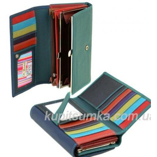 Солидный кожаный кошелёк с двойной монетницей цвет синий