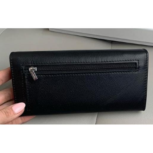 Черный женский кошелек из кожи OP501-2K-5