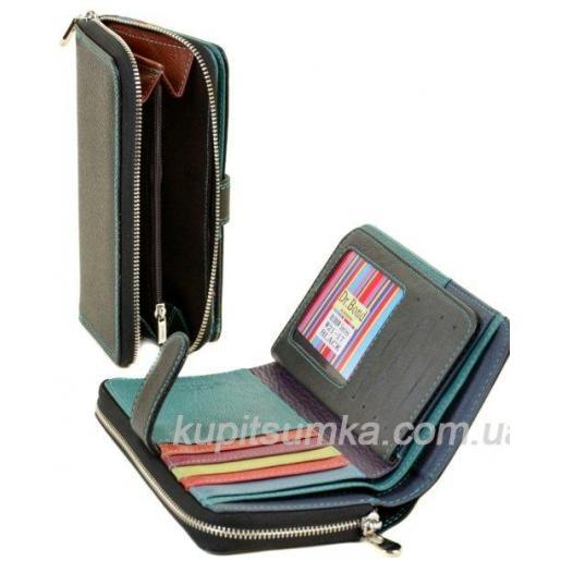 Вместительный женский кошелёк из натуральной кожи Чёрный