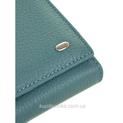 Женский голубой кошелёк из натуральной кожи с монетницей внутри