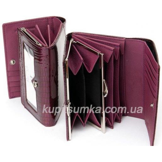 Кожаный компактный кошелёк с внутренней монетницей Красный перламутр