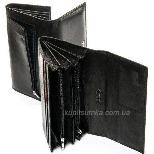 Женский кожаный черный кошелек П1-2-76