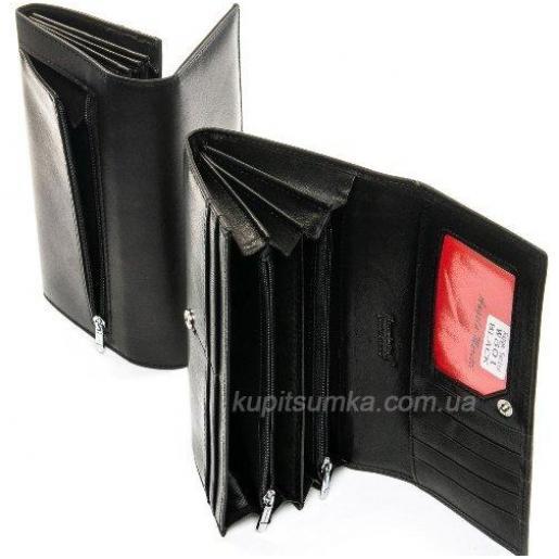 Женский черный кошелёк из натуральной мягкой кожи на кнопке