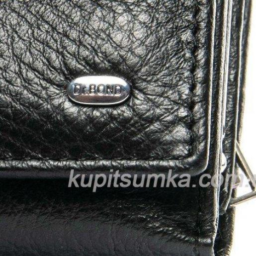 Кожаный женский кошелёк с центральной монетницей Черный