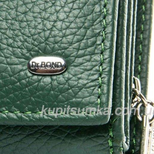 Кожаный женский кошелёк с центральной монетницей Зеленый