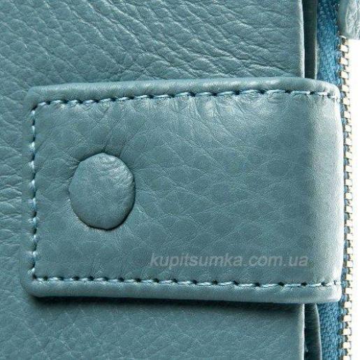 Женский облегчённый кошелёк из голубой натуральной мягкой кожи