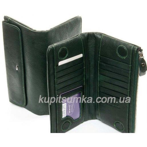 Женский кошелёк из натуральной кожи с монетницей на молнии Зеленый