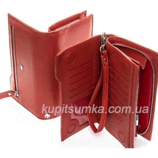 Женский кожаный кошелёк на молнии Вишнёвый