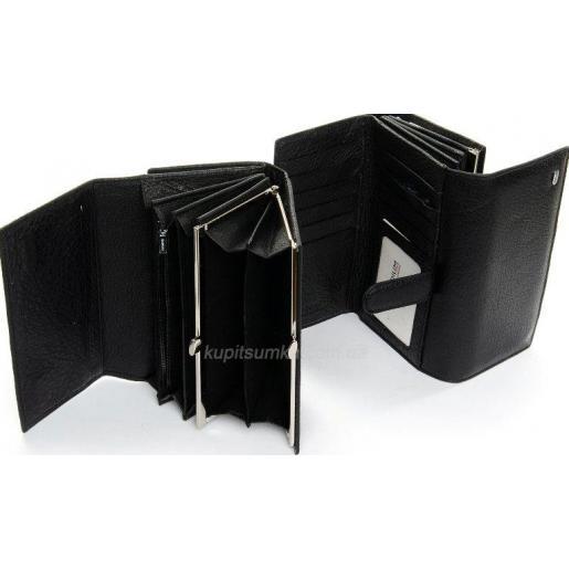 Классический черный кошелек из натуральной кожи