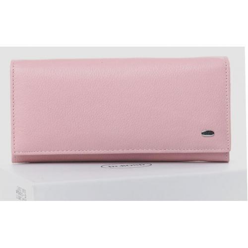 Классический кожаный кошелек розового цвета на молниях
