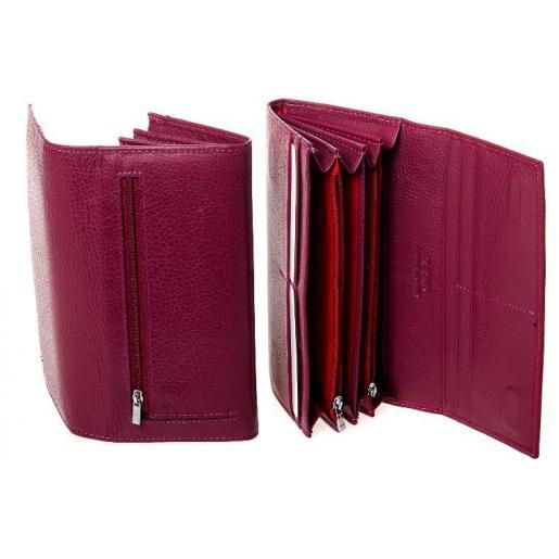 Женский кожаный кошелек на молниях Красный