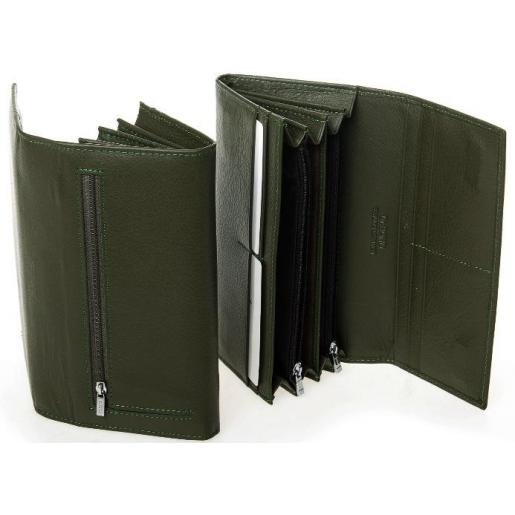 Кожаный кошелек из кожи зеленого цвета на молниях