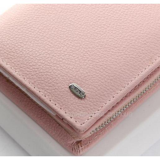 Розовый кошелек из натуральной кожи с монетницей на молнии