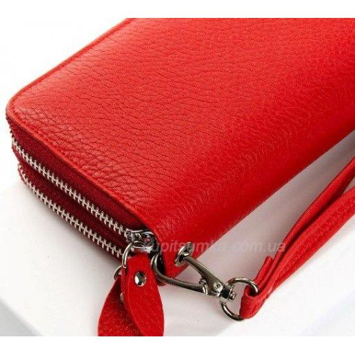 Большой женский кошелек красного цвета из кожи на два отделения