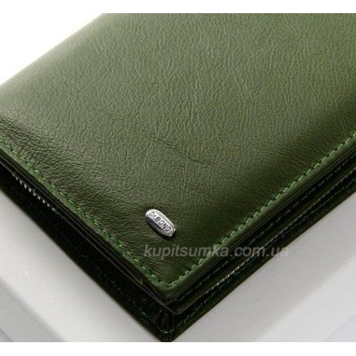 Мягкий зеленый кошелёк из натуральной кожи с монетницей на молнии
