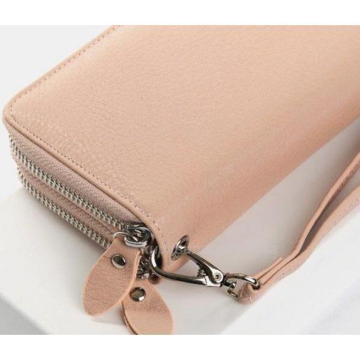 Женский розовый кошелек из кожи на два отделения