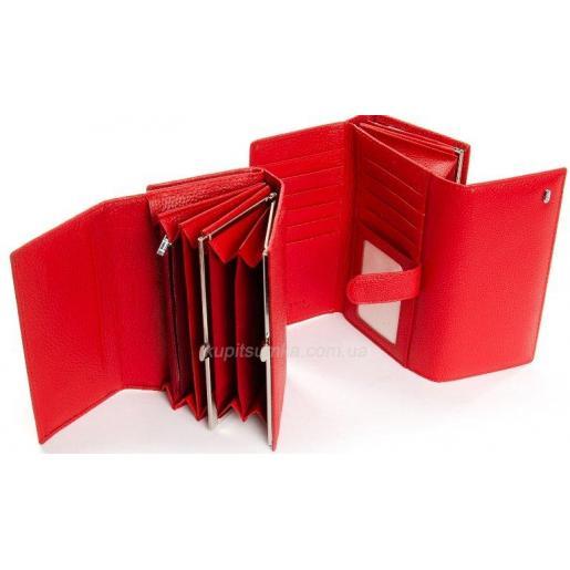Современный женский кошелек из кожи красного цвета