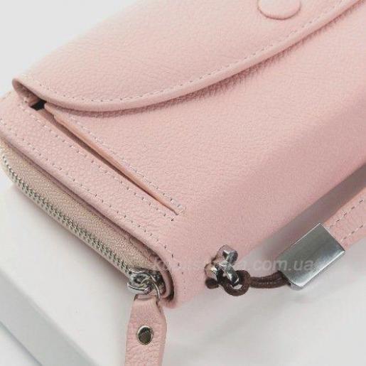 Симпатичный женский кошелек розового цвета из натуральной кожи