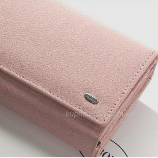 Женский современный кошелек из кожи розового цвета