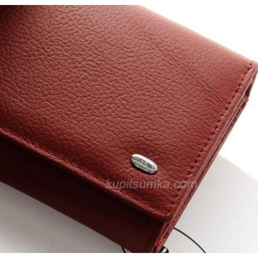 Женский кошелек темно-красного цвета из кожи