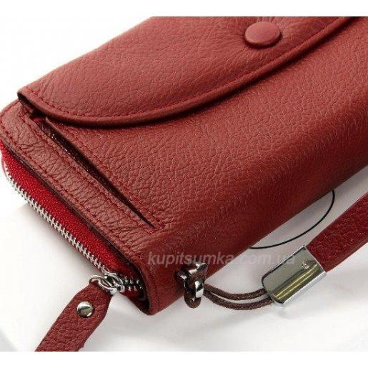 Темно-красный кошелек из натуральной кожи