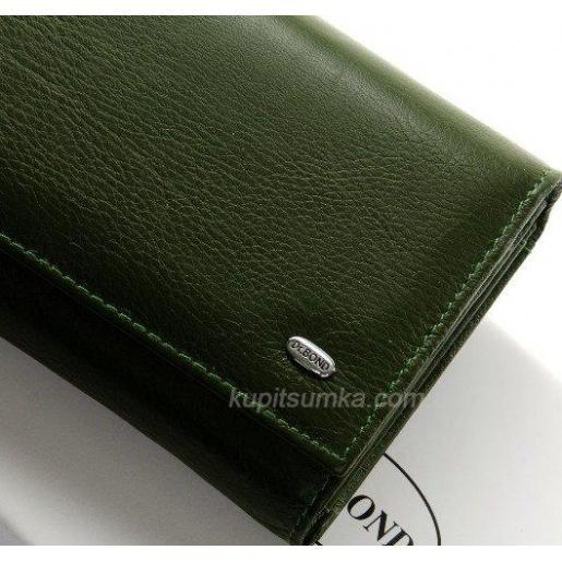 Женский современный кошелек из кожи зеленого цвета